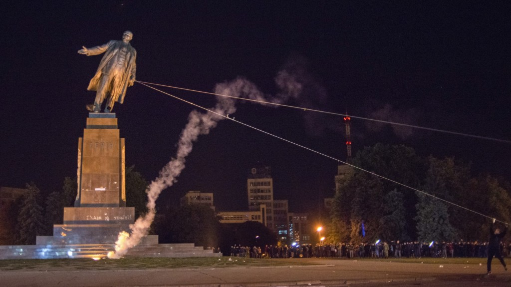 Ukrainian Crowds Topple Lenin Statue  - http://www.forbes.com/sites/katyasoldak/2014/09/28/ukrainian-crowds-topple-lenin-statue-again/